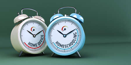 two alarm clocks as onzept for Homeoffice and homeshooling, 3d rendering