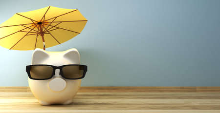 Piggy bank with sunglasses under umbrella with copy spave as 3d rendering concept