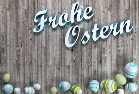 3D rendering of Easter eggs on wooden background