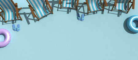 Summer concept with reclining tubs and float tyres in light blue flat 3d rendering 写真素材