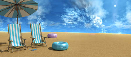 Beach chairs on the white sand beach with cloudy blue sky 3d rendering 写真素材