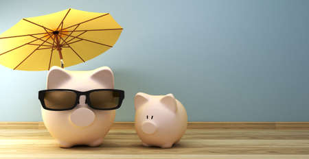 Piggy bank under umbrella with copy spave as 3d rendering concept