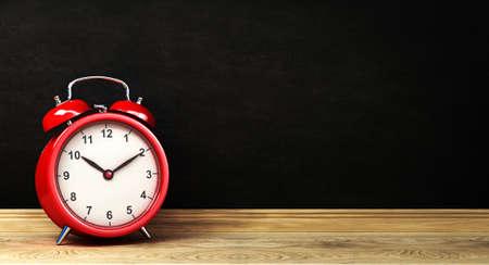 red retro alarm clock with retro colored, 3d rendering 写真素材
