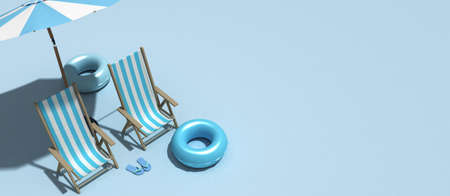 The concept of summer vacation. Top view on a sun lounger under an umbrella on the sandy beach, 3d Rendering