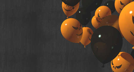 Orange and black balloons with pumpkin face and ghost-happy faces 3d rendering
