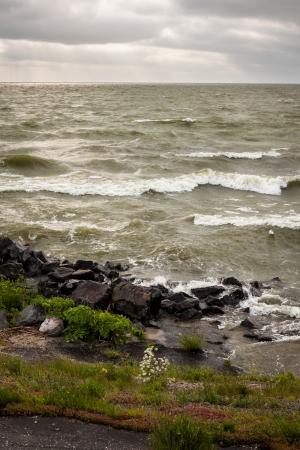 markermeer: Lake of Markermeer view from Eastern side of Houtribdijk dike  Netherlands    Stock Photo