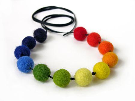 Handmade colorful felt necklace photo