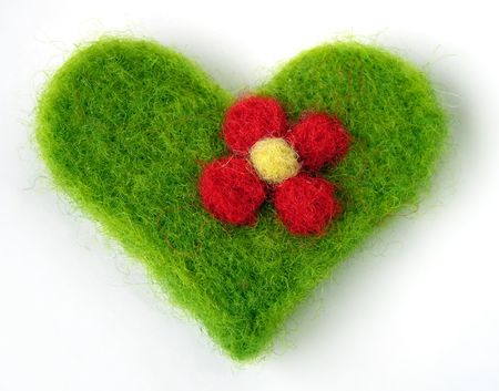 Green felt handmade heart