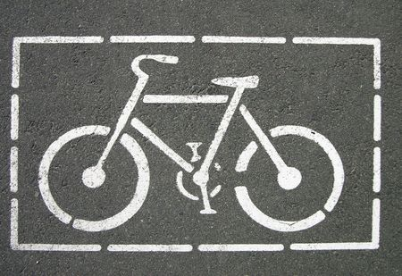 lanes: Bicycle sign on the road Stock Photo