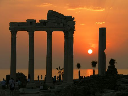 Temple of Apollo at sunset, Side, Turkey Stock Photo