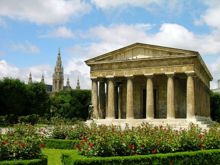 Theseus Temple in Volksgarten and the City Hall on the background, Vienna photo