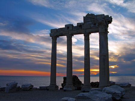 Temple of Apollo at sunset, Side, Turkey Stock Photo - 6826449
