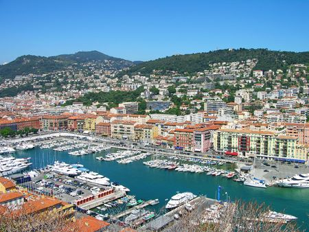 Port of Nice bird eye view, Cote d'Azur, France