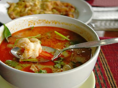 Tom Yum soup with shrimps Stock Photo