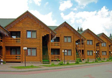 Row of wooden houses Stock Photo