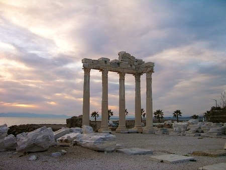 Temple of Apollo in the evening, Side, Turkey