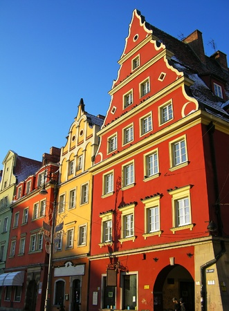 Beautiful buildings on the central square of Wroclaw, Poland photo
