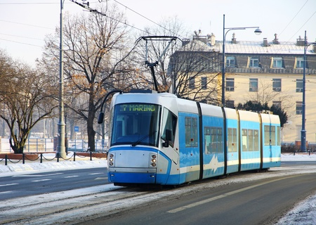 Tram on the street of Wroclaw, Poland