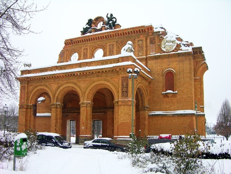 bombed city: Ruins of Anhalter Bahnhof in Berlin, Germany