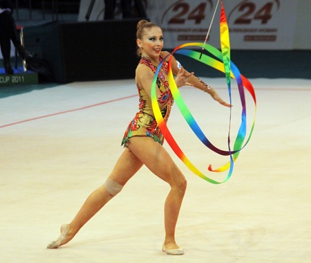 Kyiv, Ukraine - May 8, 2011 - Daria Kondakova (Russia) performs at Deriugina Cup (Rhythmic Gymnastics World Cup).