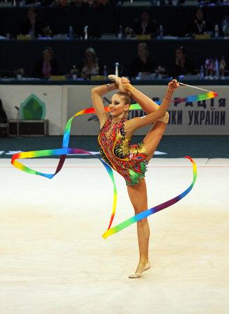 Kyiv, Ukraine - May 8, 2011 - Daria Kondakova (Russia) performs at Deriugina Cup (Rhythmic Gymnastics World Cup) Stock Photo - 9690640