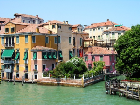 Colorful houses on the Grand Canal in Venice, Italy