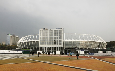 olimpiysky: Kyiv, Ukraine - October 8, 2011 - Olympic stadium (NSC Olimpiysky), the main stadium of Euro-2012 football championship, on the day of grand opening after reconstruction Editorial