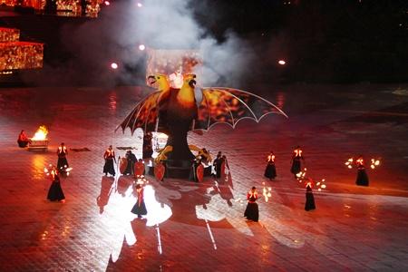 olimpiysky: Kyiv, Ukraine - October 8, 2011 - Actors perform at the opening ceremony of main Euro-2012 stadium - Olympic stadium (NSC Olimpiysky)
