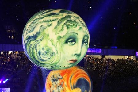 olimpiysky: Kyiv, Ukraine - October 8, 2011 - Performance at the opening ceremony of main Euro-2012 stadium - Olympic stadium (NSC Olimpiysky)