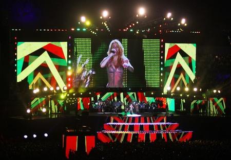 Kyiv, Ukraine - October 8, 2011 - Shakira performs at the opening ceremony of Olympic stadium (NSC Olimpiysky)