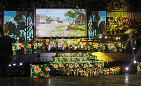 olimpiysky: Kyiv, Ukraine - October 8, 2011: Performance at the opening ceremony of main Euro-2012 arena - Olympic stadium (NSC Olimpiysky)