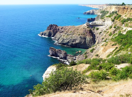 Black sea coast near Sevastopol, Crimea, Ukraine photo