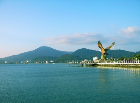 Eagle statue, the symbol of Langkawi island, Malaysia Stock Photo