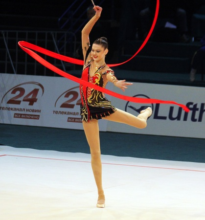 Kyiv, Ukraine - May 8, 2011: Alina Maksymenko (Ukraine) performs at Deriugina Cup (Rhythmic Gymnastics World Cup)