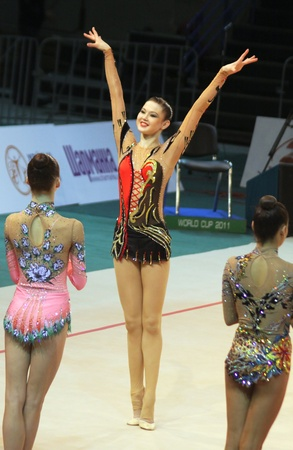 Kyiv, Ukraine - May 8, 2011: Alina Maksymenko (Ukraine) at Deriugina Cup (Rhythmic Gymnastics World Cup) Stock Photo - 11229447