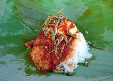 Nasi lemak - traditional Malaysian breakfast on banana leaf photo