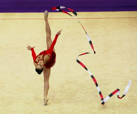 Kyiv, Ukraine - March 18, 2012: Silviya Miteva (Bulgaria) performs at Deriugina Cup (Rhythmic Gymnastics World Cup)