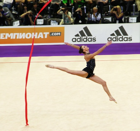 Kyiv, Ukraine - March 18, 2012: Joanna Mitrosz (Poland) performs at Deriugina Cup (Rhythmic Gymnastics World Cup)