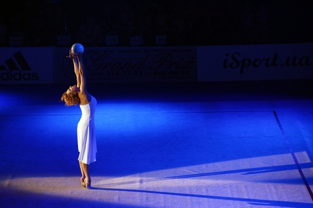 Kyiv, Ukraine - March 18, 2012: Natalia Godunko (Ukraine) performs during Gala Concert at Rhythmic Gymnastics Deriugina Cup Stock Photo - 12734195