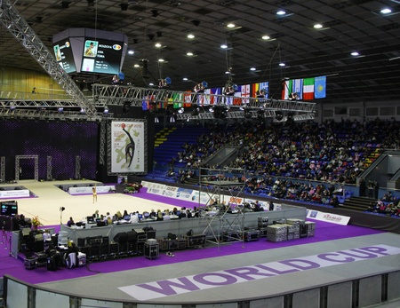 Kyiv, Ukraine - March 17, 2012: Sports Palace during Deriugina Cup (Rhythmic Gymnastics World Cup) Stock Photo - 12768191