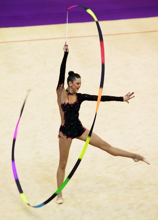 Kyiv, Ukraine - March 17, 2012: Alina Maksymenko (Ukraine) performs at Deriugina Cup (Rhythmic Gymnastics World Cup)