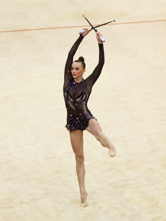 Kyiv, Ukraine - March 17, 2012: Anna Rizatdinova (Ukraine) performs at Deriugina Cup (Rhythmic Gymnastics World Cup) Stock Photo - 13337682