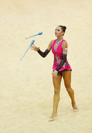 Kyiv, Ukraine - March 17, 2012: Daria Dmitrieva (Russia) performs at Deriugina Cup (Rhythmic Gymnastics World Cup) Editorial