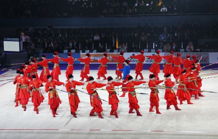 Kyiv, Ukraine - March 18, 2012: Virsky Dance Emsemble performs during Gala Concert at Rhythmic Gymnastics Deriugina Cup