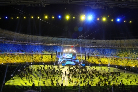 Kyiv, Ukraine - October 8, 2011: Spectators leave arena after the opening ceremony of main Euro-2012 stadium - Olympic stadium (NSC Olimpiysky)