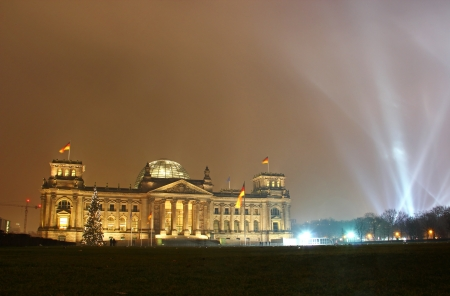 Reichstag building (German parliament) during New Year celebration in Berlin, Germany photo