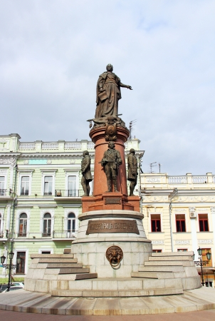 empress: Monument to Empress Catherine the Great in downtown Odessa, Ukraine Stock Photo