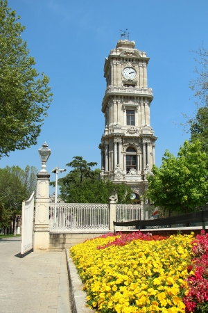 Dolmabahce Palace Clock Tower in Istanbul, Turkey photo