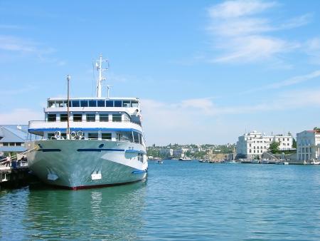 luxury liner: Cruise liner in Sevastopol harbor Stock Photo