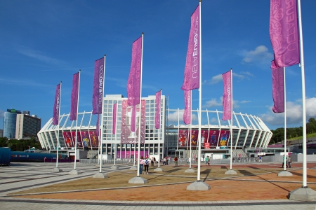 olimpiysky: Kyiv, Ukraine - June 10, 2012: Olympic stadium (NSC Olimpiysky) - main stadium of Euro-2012 football championship (hosted by Ukraine and Poland) Editorial